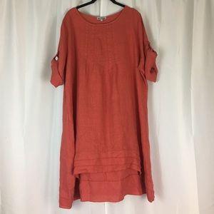 100% Lin Blanc linen flax loose casual dress 18